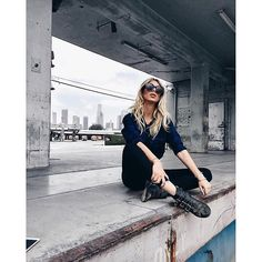@zorannah hanging out in DTLA in our Krista Super Skinny in Raven and our Men's Weston Button up in Drifter Blue (coming Fall 2016!)