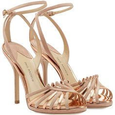 Rose gold leather and nude suede make these Paul Andrew sandals a plush, feminine choice.  The ankle strap is a supportive contrast to the slick stiletto heel …