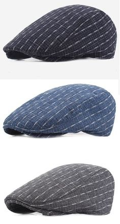 2d92c2e2995 Men Cotton Stripe Plaid Grid Beret Hat Buckle Adjustable Golf Driving Flat  Cabbie Newsboy Beret Cap