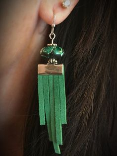 Excited to share this item from my #etsy shop: Green Fringe Earrings #jewelry #earrings #green #fringe #suede #jasper