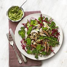 Pollo and Beet Salad with Avocado Pesto? This superfood supper is packed with ingredients to give your body a boost, such as red onion, nigella seeds, walnuts, rapeseed oil and lemon via
