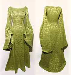 Finarfin Pear Green Cotton Damask S-size Elven Gown, large angel sleeves, front lacing. Dress Elf Fantasy RPG LARP LOTR Game of Thrones D&D di LaTeieraDiAlice su Etsy