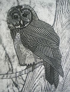 """Bonnie Murray, """"Barred Owl"""", 9.25""""x7"""", ? of 50, on Arches Cover White Paper, Collagraph"""
