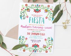 Check out our fiesta selection for the very best in unique or custom, handmade pieces from our shops. Third Birthday Girl, 1st Birthday Parties, Birthday Party Invitations, Birthday Ideas, Mexican Fiesta Party, Fiesta Theme Party, Mexican Invitations, Unique Invitations, First Birthdays