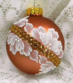 Copper MUD Ornament with Flowers and Diagonal Bling. $20.00, via Etsy.