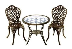 Oakland Living 2055-AB Mississippi ThreePiece Glass Top Outdoor by Oakland Living. $325.57. Long lasting, beautiful finish maintains appearance for years to come. High-grade polyester powder coat finish. Brass and stainless steel assembly hardware. Set includes 1 table, 2 chairs. Hardware ensures that set will be sturdiness, durability and security for years. Finish:Antique Bronze  Mississippi Three-Piece Glass Top Bistro Set The Oakland Mississippi Collection combi...