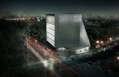 Exterior rendering of the proposed Cultural Center Chapultepec for Mexico City by Adrian Yau, Frisly Colop Morales, Jason Easter, Lukasz Wawrzenczyk (Image courtesy of the architects)