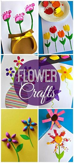 Pretty Flower Crafts for Kids to Make #Spring crafts #Mother's day card ideas (Using Fingerprints, Footprints, Toilet paper rolls, acorns, potatoes, forks, and more!) | CraftyMorning.com