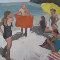 """At the beach: Matted 11x11"""" Archival Print - Signed. $85.00, via Etsy."""