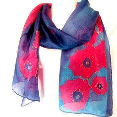 Silk Scarf Hand Painted Navy Blue Vermillion Red by silkshop
