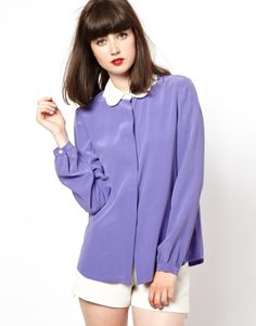 Boutique by Jaeger Shirt with Contrast Scallop Collar