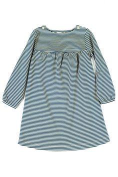 Navy + Ecru striped dress