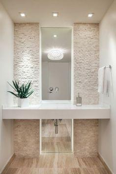 eclairage salle de bain led, couleur taupe, salle de bain beige avec plante verte d'intérieur