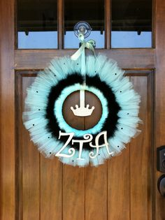 Zeta Tau Alpha Tulle Wreath  Looks like a simple auction item... @Kimberly Chapman