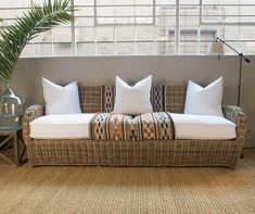 """Not for outdoor use. Try blending with upholstered furniture to soften the """"cane"""" look. Excludes all cushions Sofa comes in 3 different si…"""