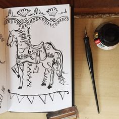 82/365 a calligraphic carousel horse by Two if by Sea Studios sketchbook