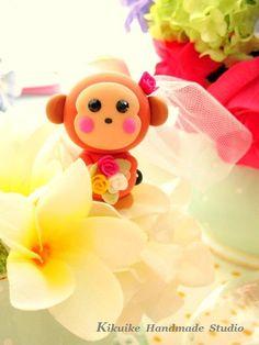 LOVE ANGELS Wedding Cake Topper-love monkey. $130.00, via Etsy.