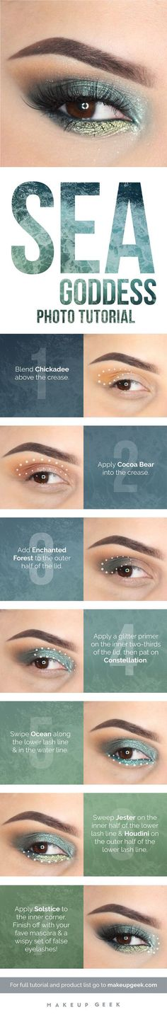 Goddess Photo Tutorial Tutorial for mermaid inspired eye makeup. Channel your inner mermaid.Tutorial for mermaid inspired eye makeup. Channel your inner mermaid. Eye Makeup Tips, Eyebrow Makeup, Makeup Geek, Skin Makeup, Makeup Inspo, Eyeshadow Makeup, Makeup Inspiration, Eyeliner, Makeup Eyebrows