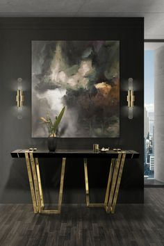 The Apotheosis console by Luxxu is the ultimate home decor sensation. A geometric structure, a glamorous concept and the finest materials collide into. Modern Entrance, Modern Entryway, Entryway Decor, Entrance Hall, Interior Design Inspiration, Home Interior Design, Design Ideas, Room Inspiration, Design Trends