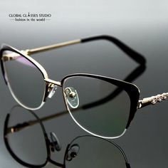 Fashion Women Brand Designer Cat Eyewear Metal Graceful Half Frame Glasses Lady Optical Frames High Quality RX Lens FVG7001 LZ