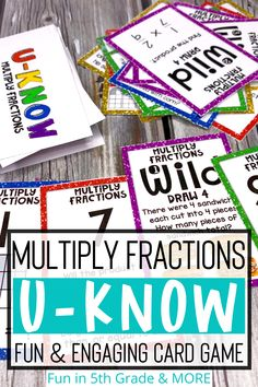Help your students review multiply fractions with this fun and engaging U-KNOW review game. Students will love learning and reviewing multiplying fractions with this fun and engaging review game. Students will practice multiplying fractions by fractions and fractions by whole numbers. This fun card game similar to UNO can be used in the classroom during math centers or stations or during distance learning as it's an easy print and go game that can be played with family members!
