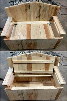 pallet seat with storage #woodworkingideas