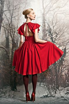 82638044686 Fine wool rose-red dress with side pockets from Lilli Jahilo AW13 14 Winter