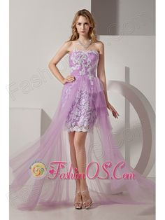 Lavender Strapless High-low Taffeta and Tulle Prom Dress with White Appliques  http://www.fashionos.com  Easy breezy dresses are a summer style. They are fashionable comfortable and look great on. This one is made from a lovely chiffon fabric and features a gathered strapless bodice. The bodice is decorated with floral appliques will the underskirt is covered with floral lace fabric,which add the delicate look.