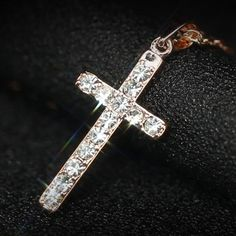 Classic design White/Rose gold plating zircon cross necklace - Online Global Shopping Centre