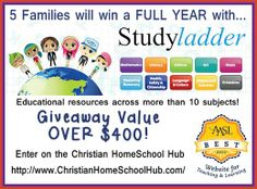 #HOMESCHOOL giveaway! Over $400 value ** STUDYLADDER ** 5 Families will win a 1-year subscription to THIS AWARD WINNING SITE! Enter @ http://www.christianhomeschoolhub.com/