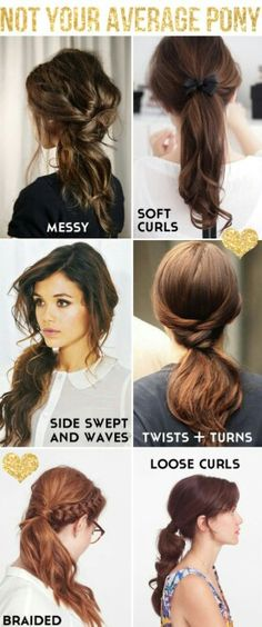 Different kind of easy pony tails for hair-Great Hair Tips