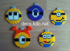 Minion Christmas baubles hama perler beads by Deco.Kdo.Nat