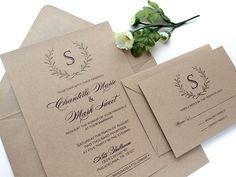 Monogram Wedding Invitation Suite  Laurel by SideStreetDesigns