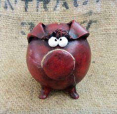 LARGE Handmade Piggy Bank Burgundy by ClayfulStudio on Etsy, $34.00