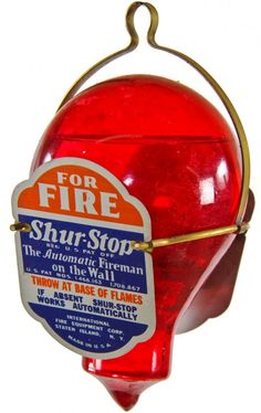 "all original late 1920's american interior residential wall-mount ""automatic fireman on the wall"" ruby red glass grenade"