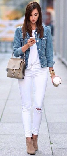 summer outfits Denim Jacket + White Tee + White Ripped Skinny Jeans