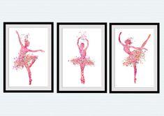 Ballerina print Set of 3 posters Ballerina by ColorfulPrint