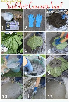 Concrete Leaf - cover w/thin layer, add wire mesh, more concrete, smooth, cover and let cure (spritz if it's hot) - basin, planter, bird bath...