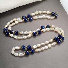 Vintage Freshwater Pearl and Lapis Lazuli Beaded Necklace Gemstone Jewelry - Trend Beaded Jewelry 2020 Bead Jewellery, Jewelry Art, Beaded Jewelry, Jewelry Accessories, Freshwater Pearl Necklaces, Diamond Bar Necklace, Gemstone Necklace, Garnet Necklace, Bohemian Jewelry