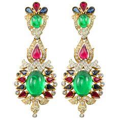 Trifari Multi-stone Earrings
