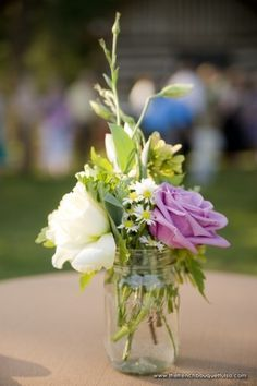 Shabby-Chic Centerpiece of Roses and Greenery in Ball Jar - The French Bouquet - Candi Coffman Photography