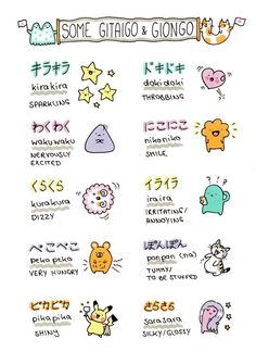 Illustration pikachu cute japan japanese kawaii doodle learning vocab copic dokidoki kirakira chi's sweet home japanese vocabulary onomatopoeia gitaigo giongo waku waku kirakiradoodles Learn Japanese Words, Japanese Phrases, Study Japanese, Japanese Quotes, Japanese Kanji, Japanese Culture, Cute Japanese Words, Learn Chinese, Japanese Tumblr