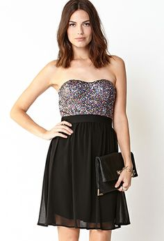Dance the night away this NYE in this Disco Doll Strapless Dress New Years Eve Dresses, Grad Dresses, Short Dresses, Bridesmaid Dresses, Formal Dresses, Nye Dress, Sequin Dress, Forever 21, Holiday Party Dresses