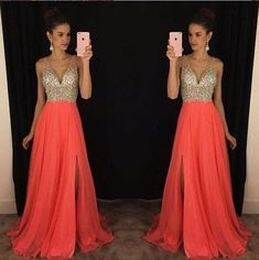 A-line V-neck Prom Dress wih Beads,Long Coral Prom Evening Gowns,Women's Prom Dress sold by FashionRicci. Shop more products from FashionRicci on Storenvy, the home of independent small businesses all over the world.