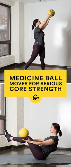 Workout Exercise 10 Medicine Ball Moves to Build Serious Core Strength Pilates, At Home Core Workout, At Home Workouts, Core Workouts, Fitness Workouts, Weighted Core Workout, Dumbbell Workout, Spinning Workout, Medicine Ball Abs