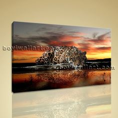 """Large Jaguar Jungle Forest Animal Contemporary On Canvas Wall Art Decor BedRoom, Large jaguar Wall Art, Bedroom, New Amber. Large Jaguar Jungle Forest Animal Contemporary On Canvas Wall Art Decor BedRoom Subject : jaguar Style : contemporary Panels : 1 Detail Size : 36""""x24""""x1 Overall Size : 36""""x24"""" = 91cm x 61cm Medium : Giclee Print On Canvas Condition : Brand New Frames : Gallery wrapped [FEATURES] Lightweight and easy to hang. High revolution giclee artwork/photograph. Edges are staple..."""