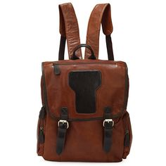 Leather Backpack in Vintage Oil Brown.