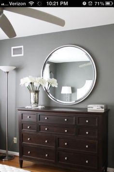 Bedroom color..love this gray for 3 walls and dark purple for the accent wall