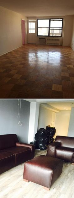 "Living Room Makeover: ""I changed my entire apartment from old parquet floor to this beautiful laminate floor."""
