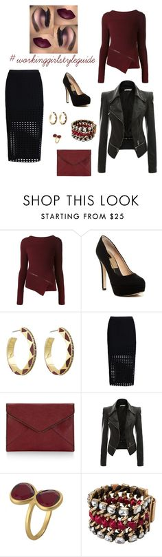 """#ootd TGIF Office to Happy Hour"" by anais-estevez-zamora on Polyvore featuring Belstaff, House of Harlow 1960, T By Alexander Wang, Rebecca Minkoff, Karen Kane and MANGO"
